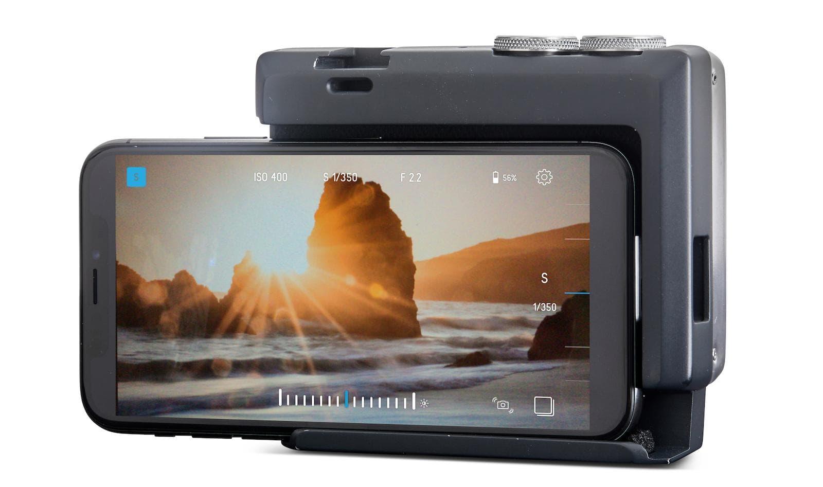 Pictar Pro grip met smartphone achterzijde