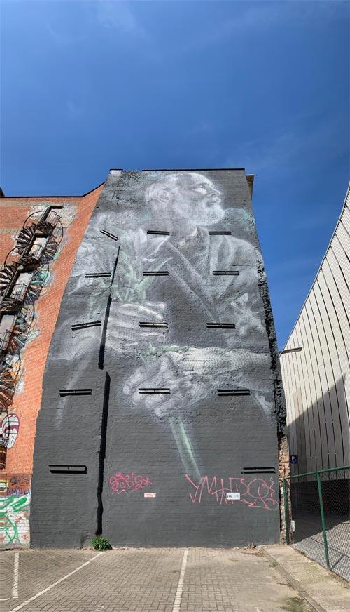 Muurschildering in Antwerpen, weergave met verticaal panorama