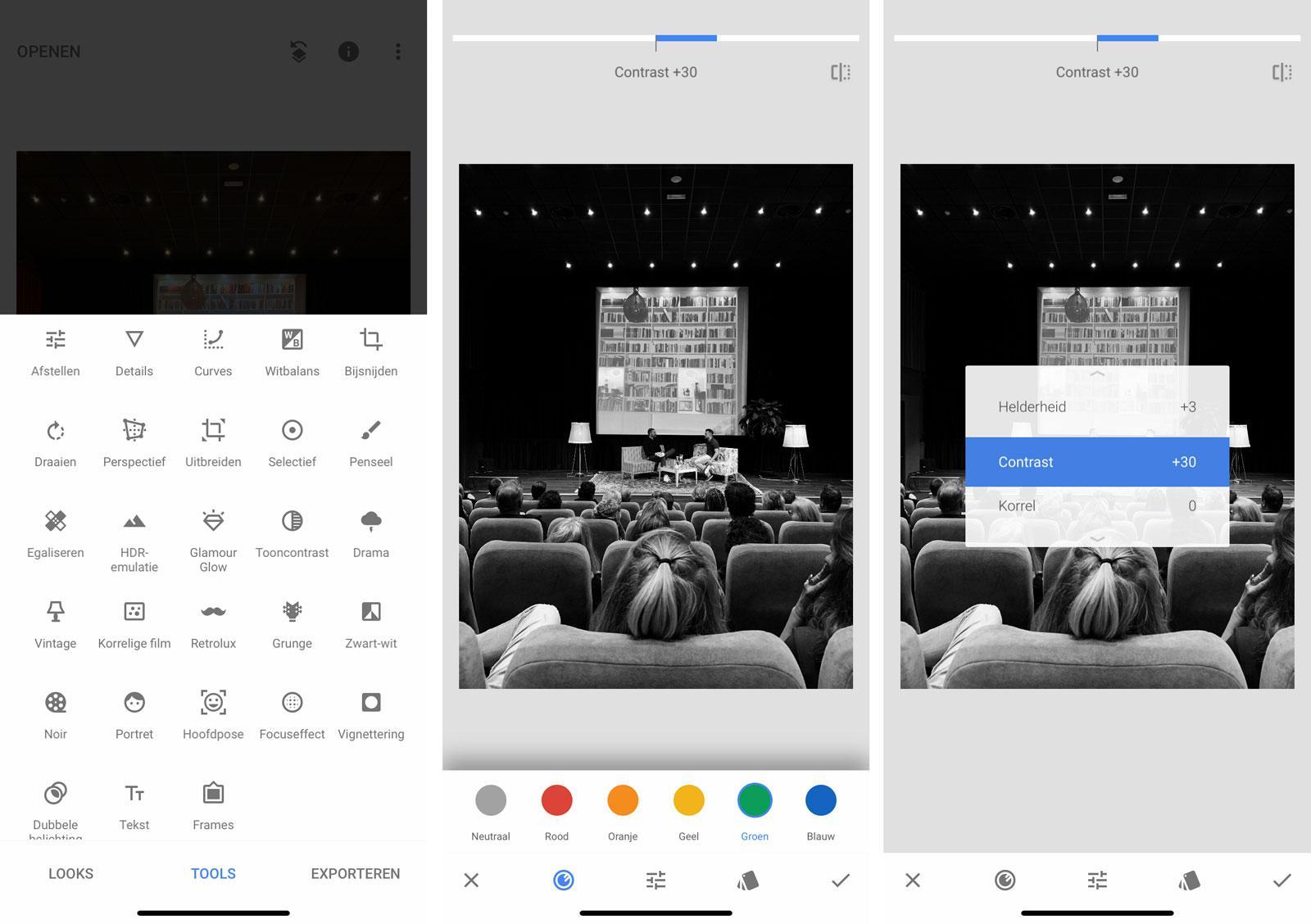 Snapseed: prima geschikt en ook een van de beste nabewerking-apps voor zwart/wit-fotografie