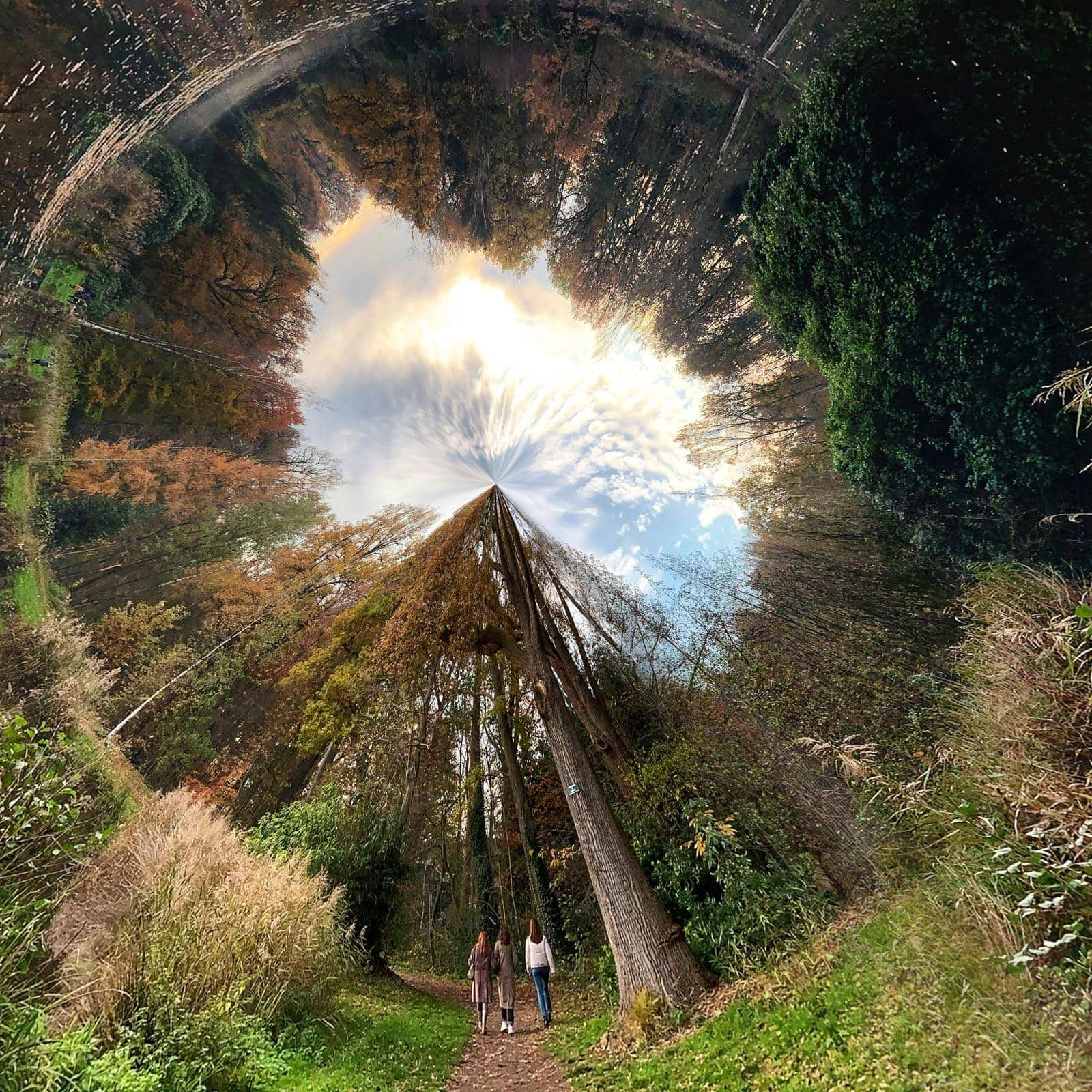 Een binnenste buiten gekeerde tiny planet heet een 'rabbit hole'.