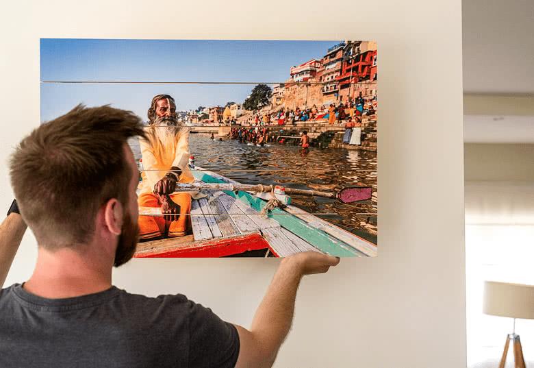 Foto-cadeau: een fotovergroting op hout via Smartphoto