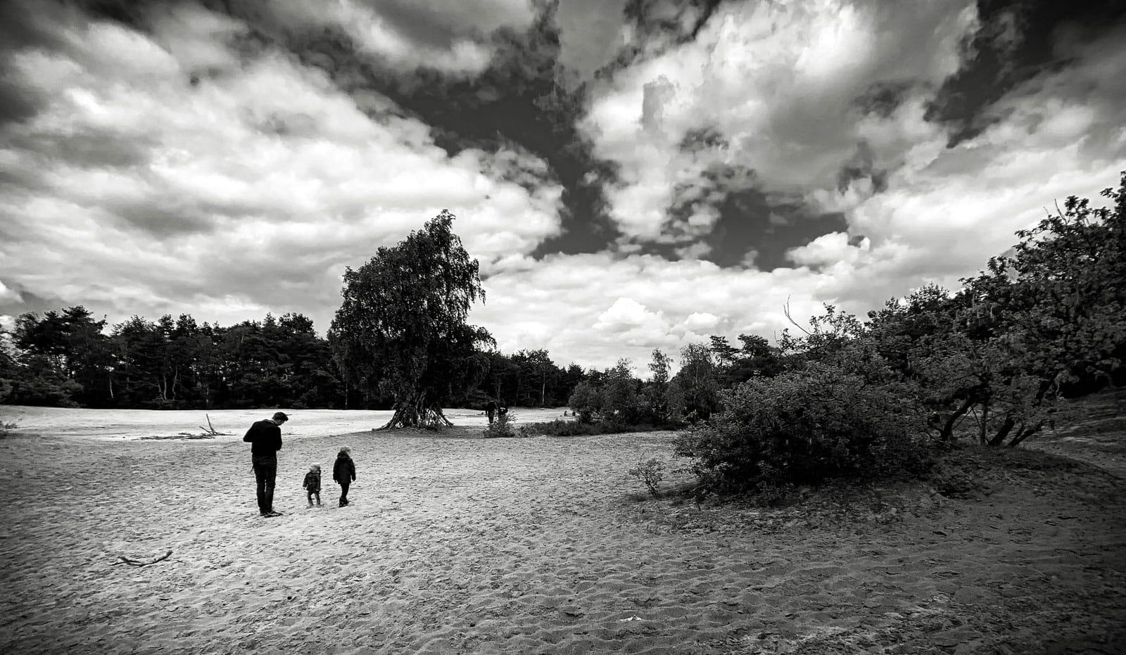 Zandverstuiving in zwart-wit