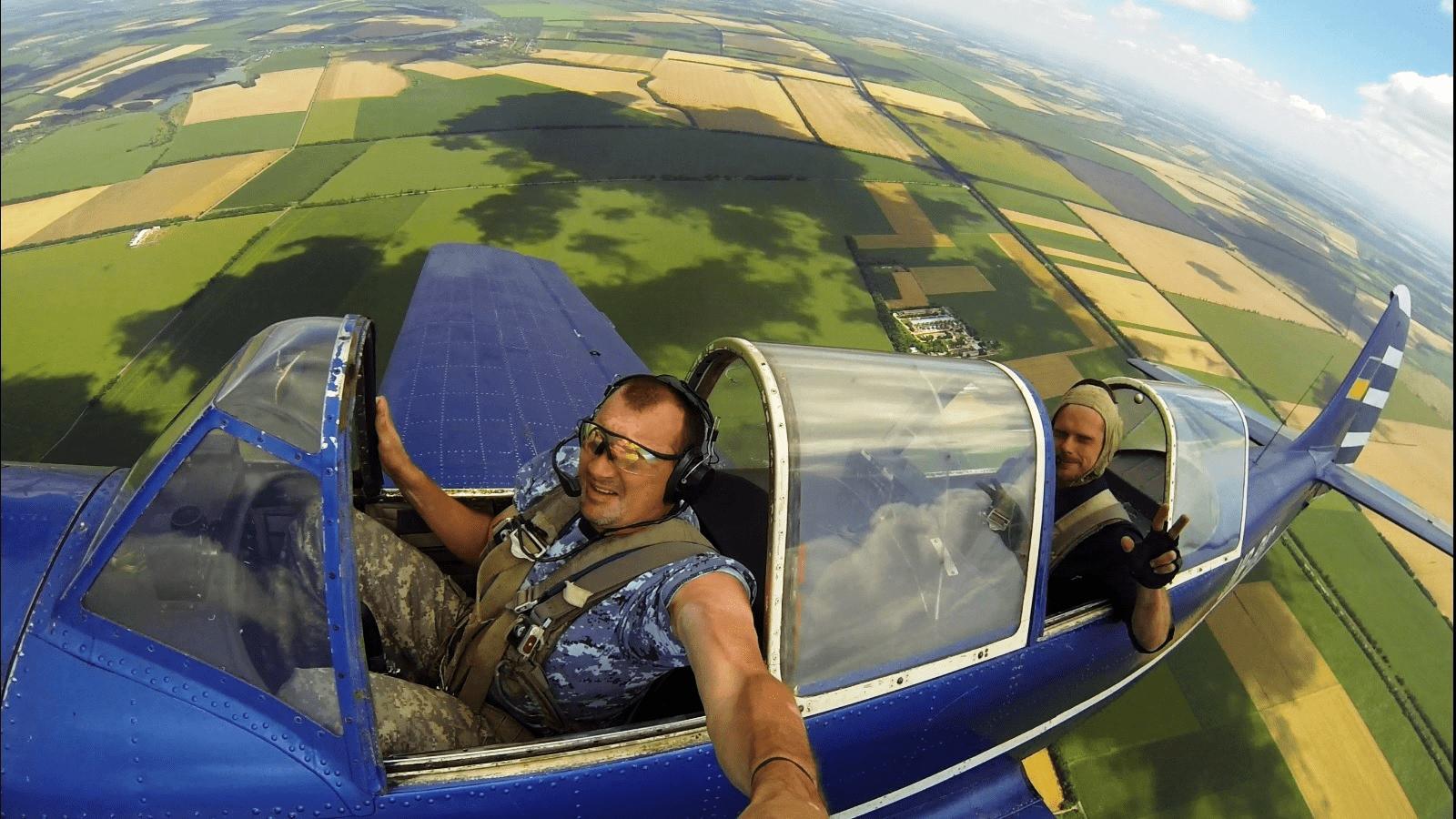 Selfie vanuit een vliegtuig