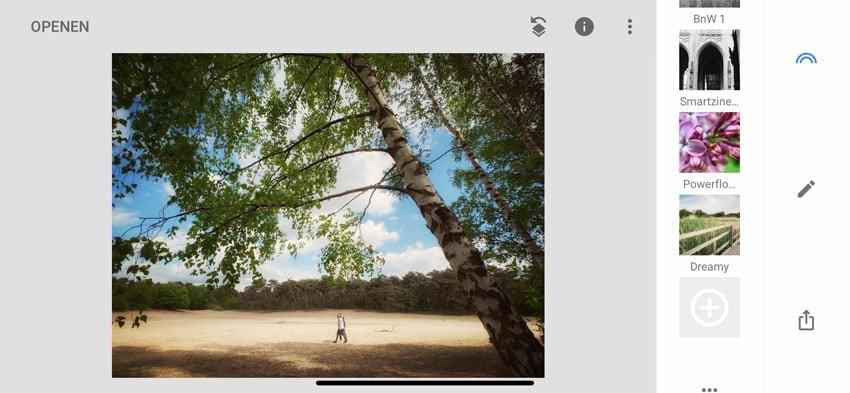 Bewaren van preset in Snapseed