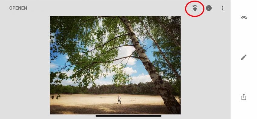Druk op het symbooltje met het pijltje in Google Snapseed
