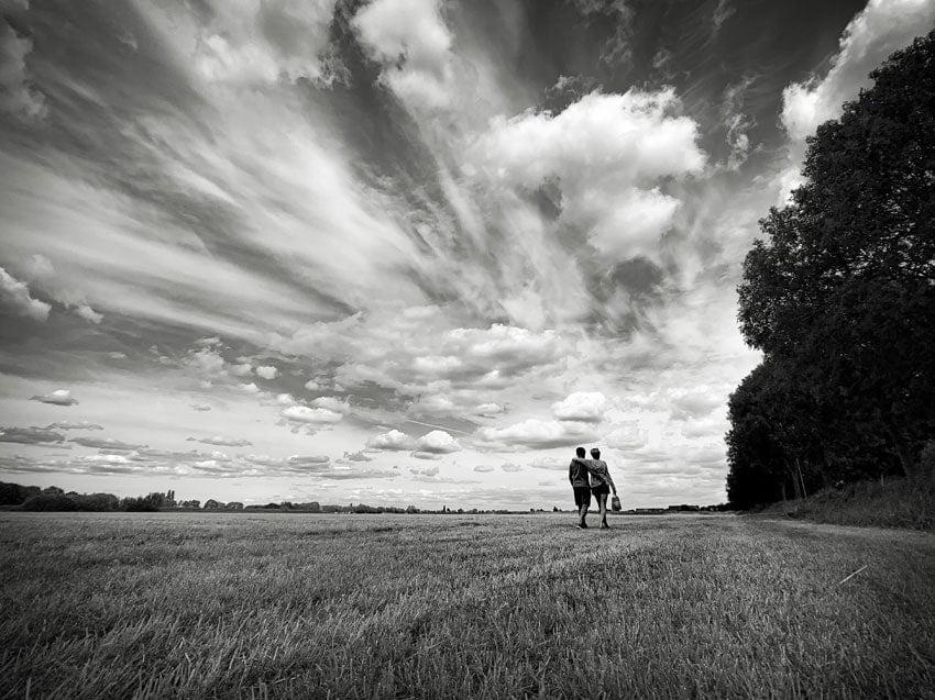 Landschapsfoto in zwart-wit