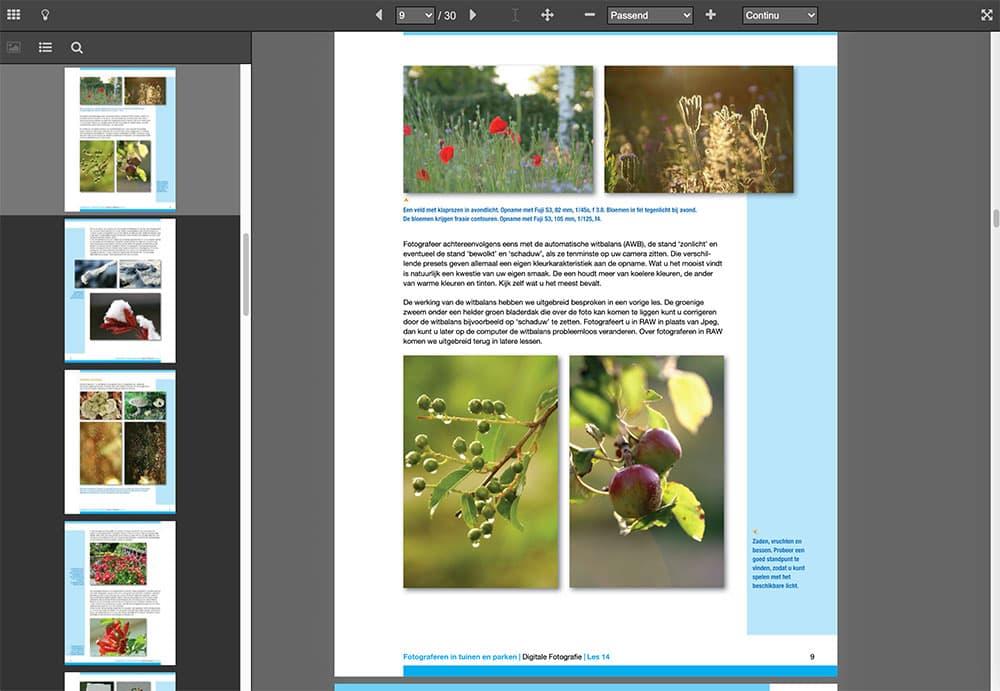 Voorbeeld van een e-book in de Online Cursus Digitale Fotografie