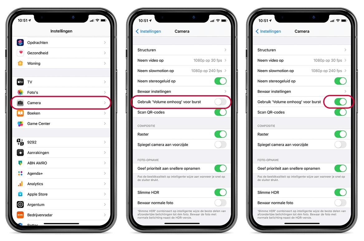 Nieuwe burst-modus activeren op de volumeknop op een iPhone met iOS 14