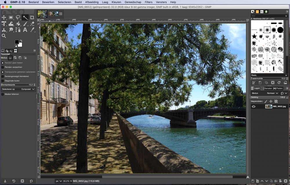 Gimp fotobewerkingsprogramma