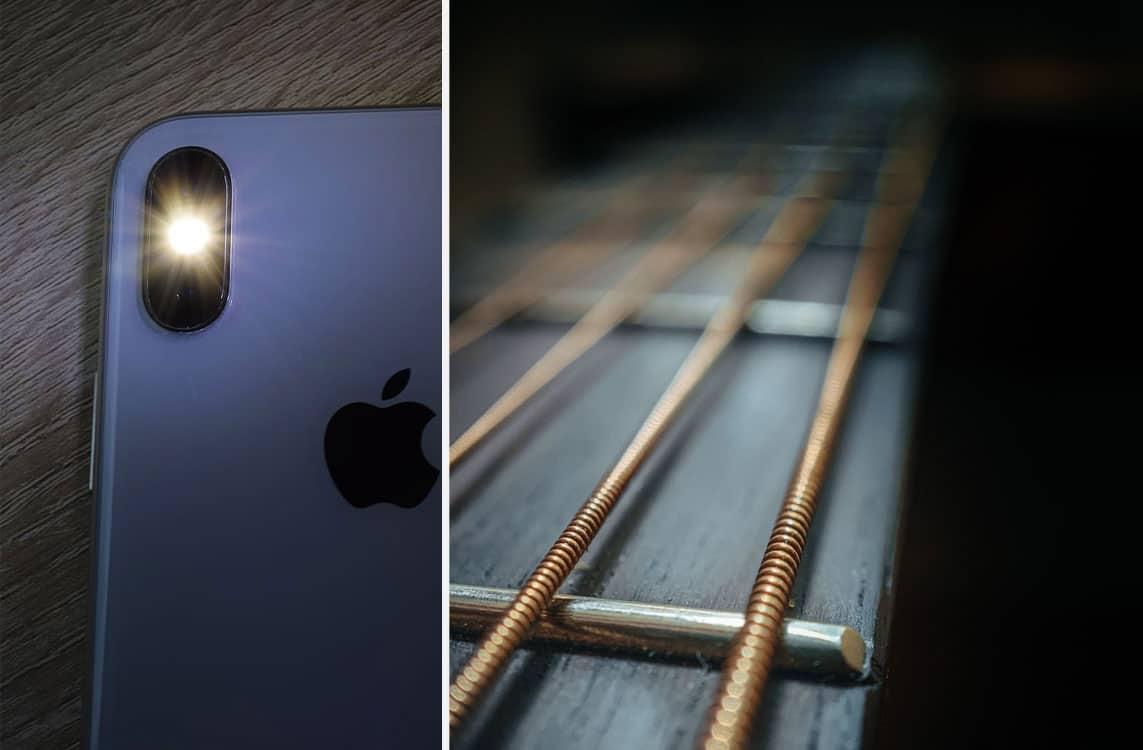 Zaklamp van een extra iPhone geeft extra licht