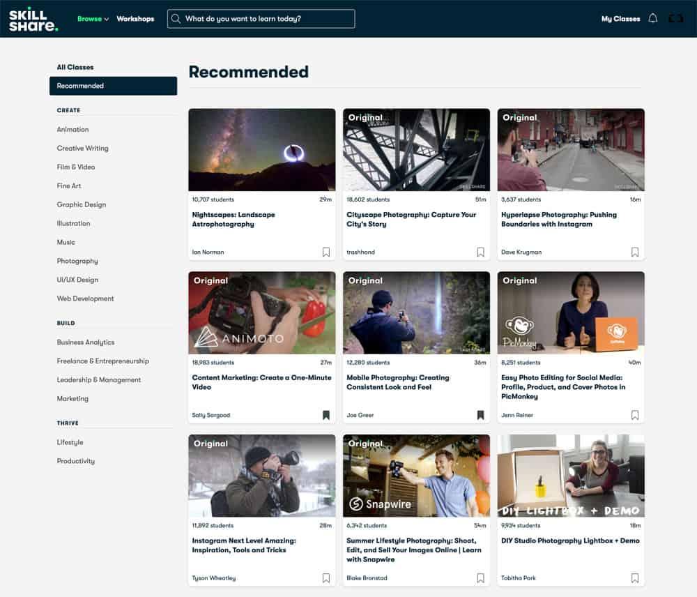 Het aanbevolen aanbod aan online fotocursussen op Skillshare.