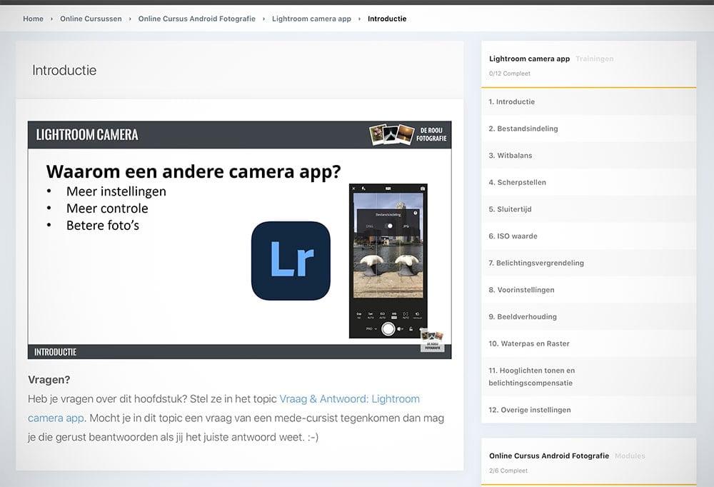 Lightroom-app in de online cursus smartphone fotografie van De Rooij Fotografie